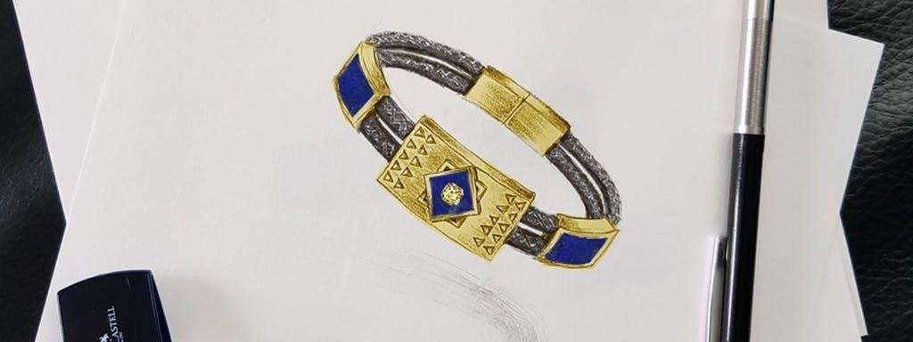 Męska bransoleta ze złota Inków z lapis lazuri i żółtym diamentem.