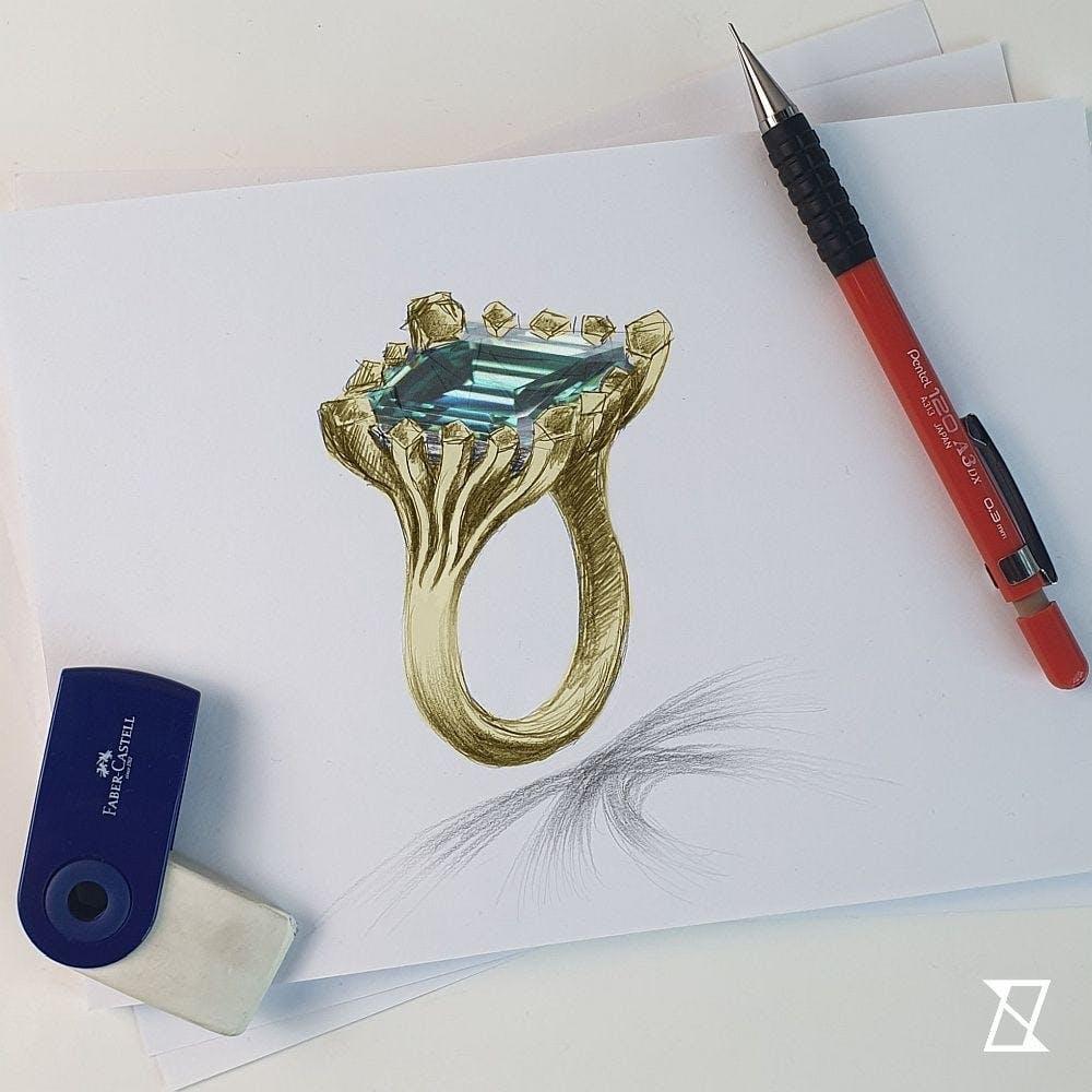 Rysunek pierścionka z 17-karatowym moissanitem.