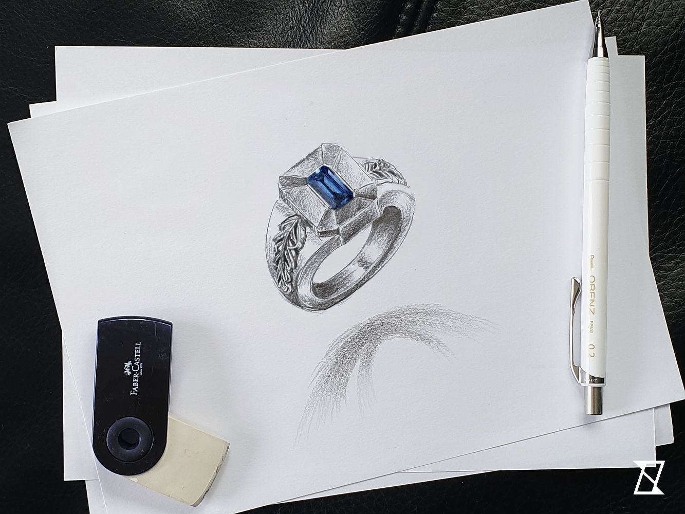 Indywidualny projekt pierścienia męskiego w perspektywie.