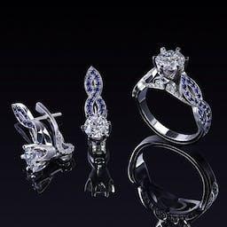 Komplet biżuterii z diamentami i szafirami w platynie 950.