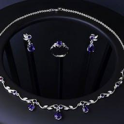 Komplet biżuterii z boliwijskim ametystem.