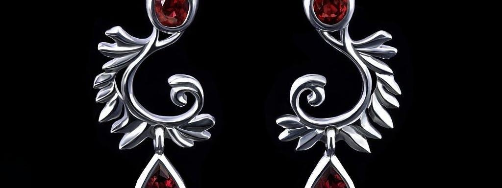 Kolczyki z ptasimi skrzydłami z rubinami w białym złocie