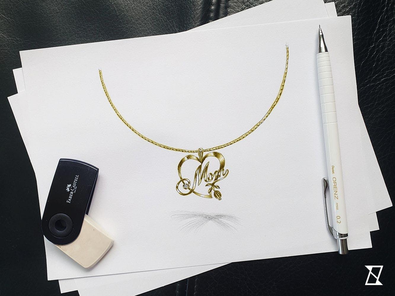Projekt naszyjnika dla Mamy z serduszkiem i diamentem w złocie.