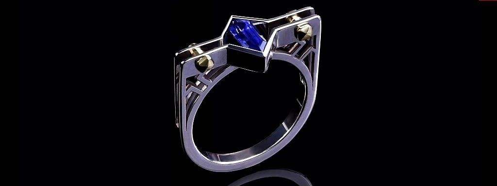 Męski pierścień z szafirem