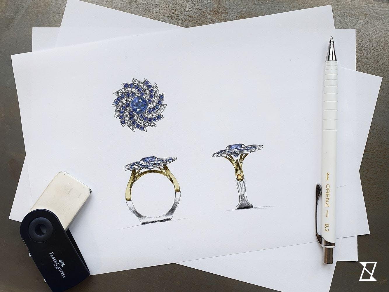 Projekt pierścionka w kształcie galaktyki.