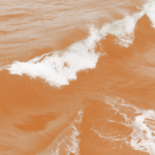 Square image of the ocean with an orange coloured filter over the top