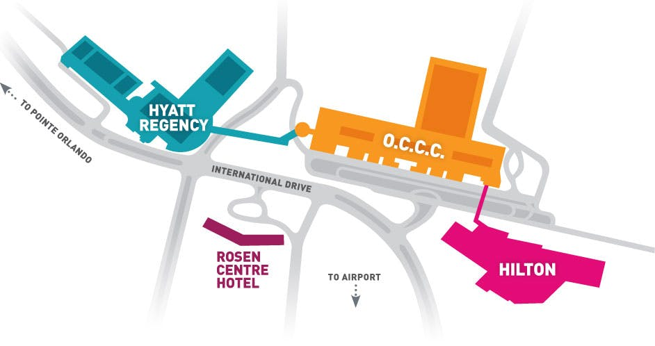 map of convention center and hotels