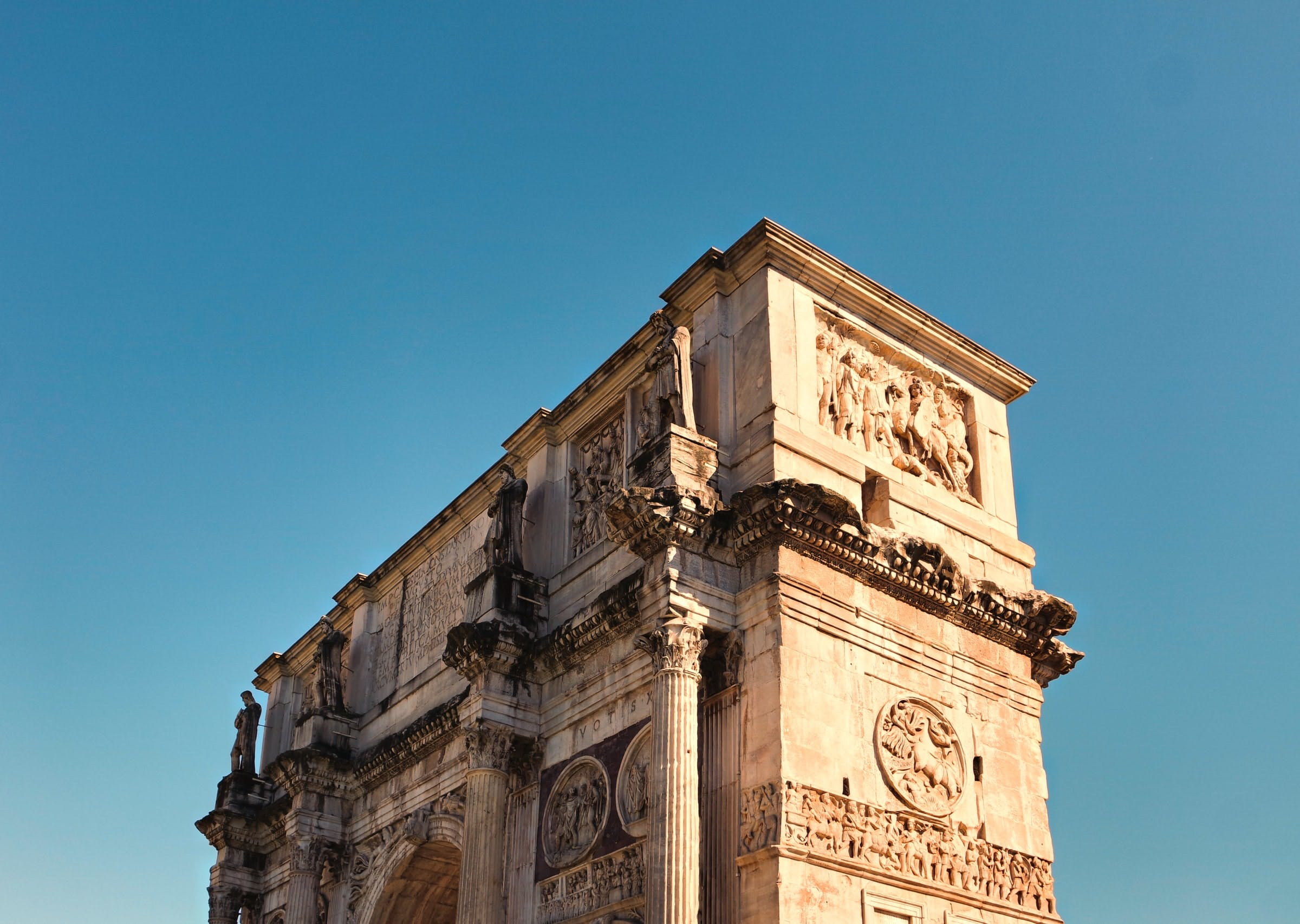 The Arch of Constantine in Rome is a notable example of Spolia, holding several fragments from periods of earlier emperors.